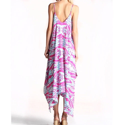 SALE ! Giselle Midi Dress in Pink Ikat - Glamco Boutique