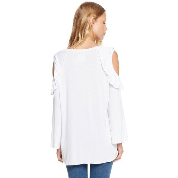 Angie Cold Shoulder Ruffle T Shirt Top