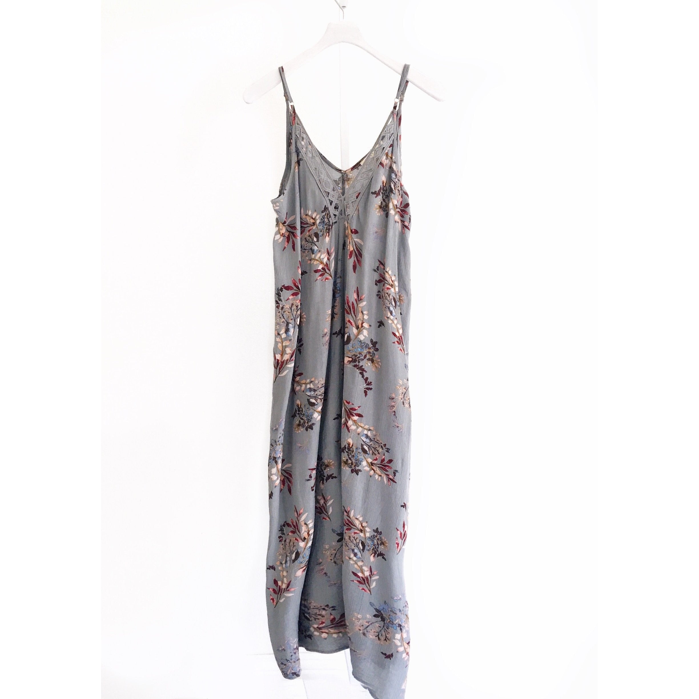 Ella Printed Floral  Maxi Dress with Lace Trim, Vintage Blue