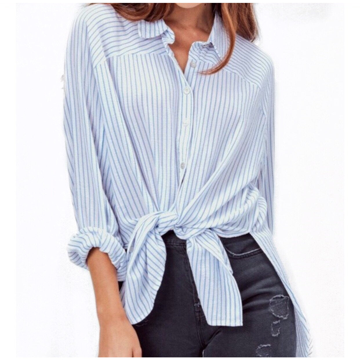 SALE ! Wes Striped Button Down Top by Lovestitch - Glamco Boutique