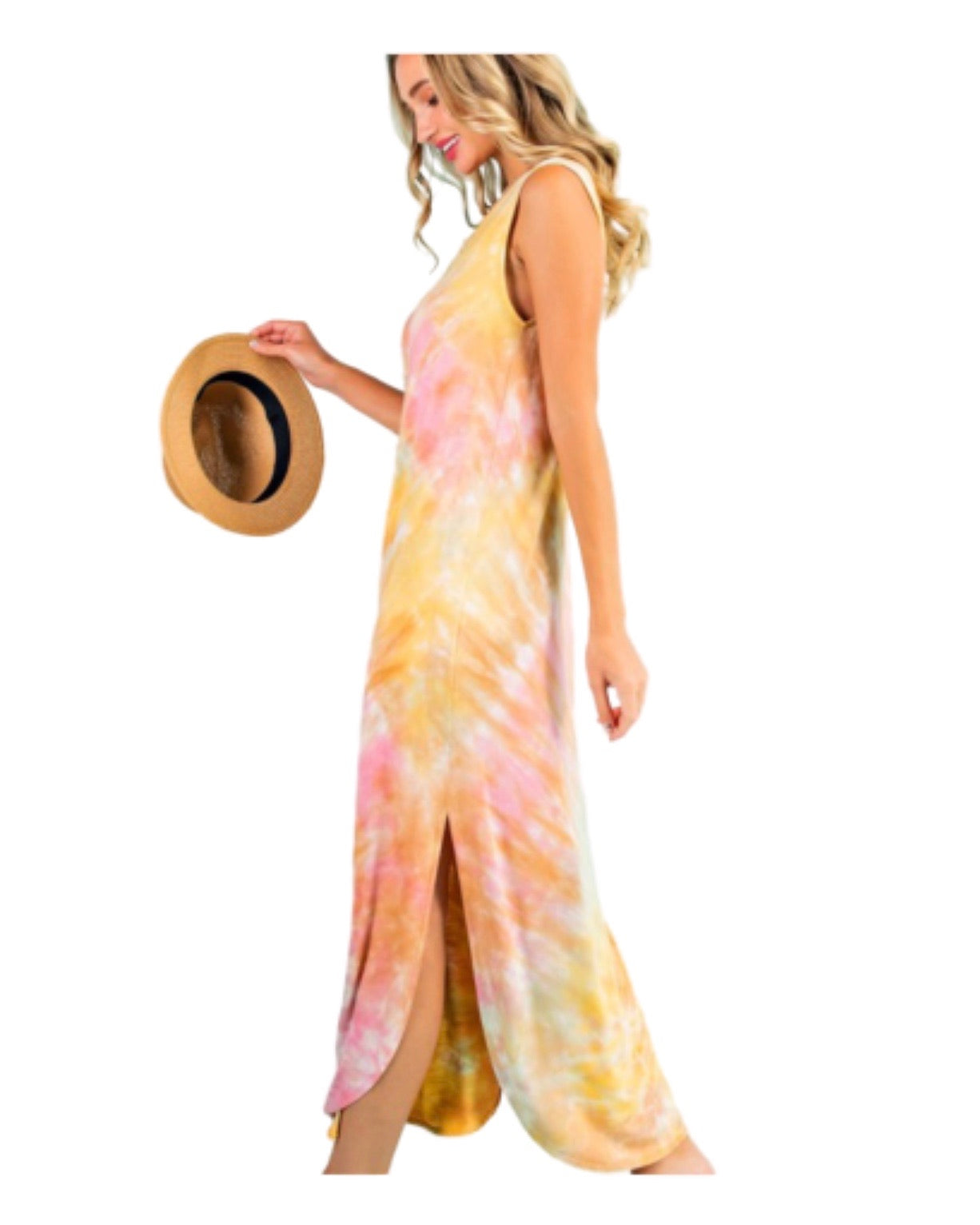 New ! Sunset Beach Sleeveless Tie Dye Maxi  Dress - Glamco Boutique