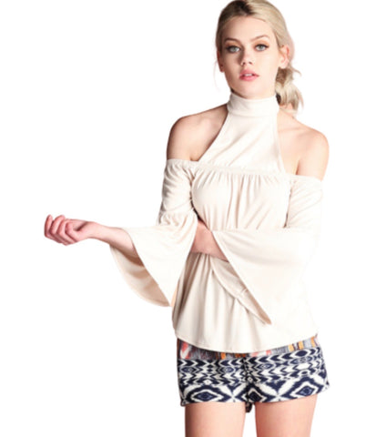 SALE! Ella Two Tone Mock Neck Top, Oatmeal