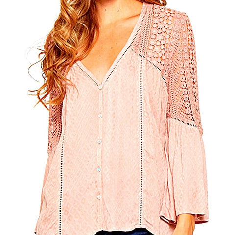 SALE ! Ashley  Detail T-Shirt Top, Blush Pink by Lovestitch