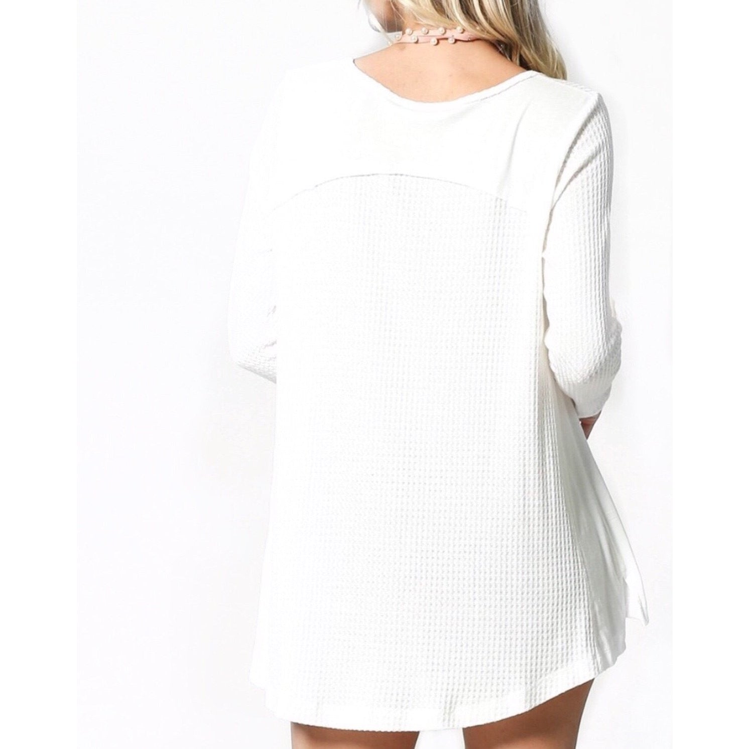 Sale ! Bermuda Long Sleeve Lightweight Thermal Top in Almost White - Glamco Boutique