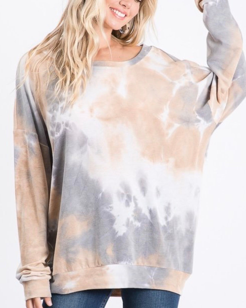 New ! Sophia Tie Dye Lightweight Sweatshirt / Top - Glamco Boutique