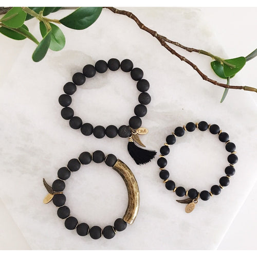 Noir Bracelet Trio  by Omi Beads