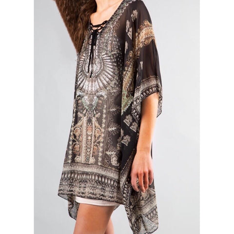 SALE ! Large Leaf Kaftan Maxi Resort Dress