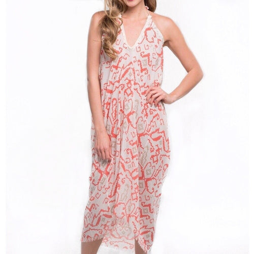 Anastasia Ikat Halter Cover Up Dress in Faded Coral