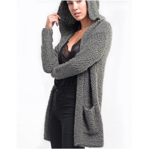 New ! Charlotte Puff Sleeve Open Front Knit Cardigan