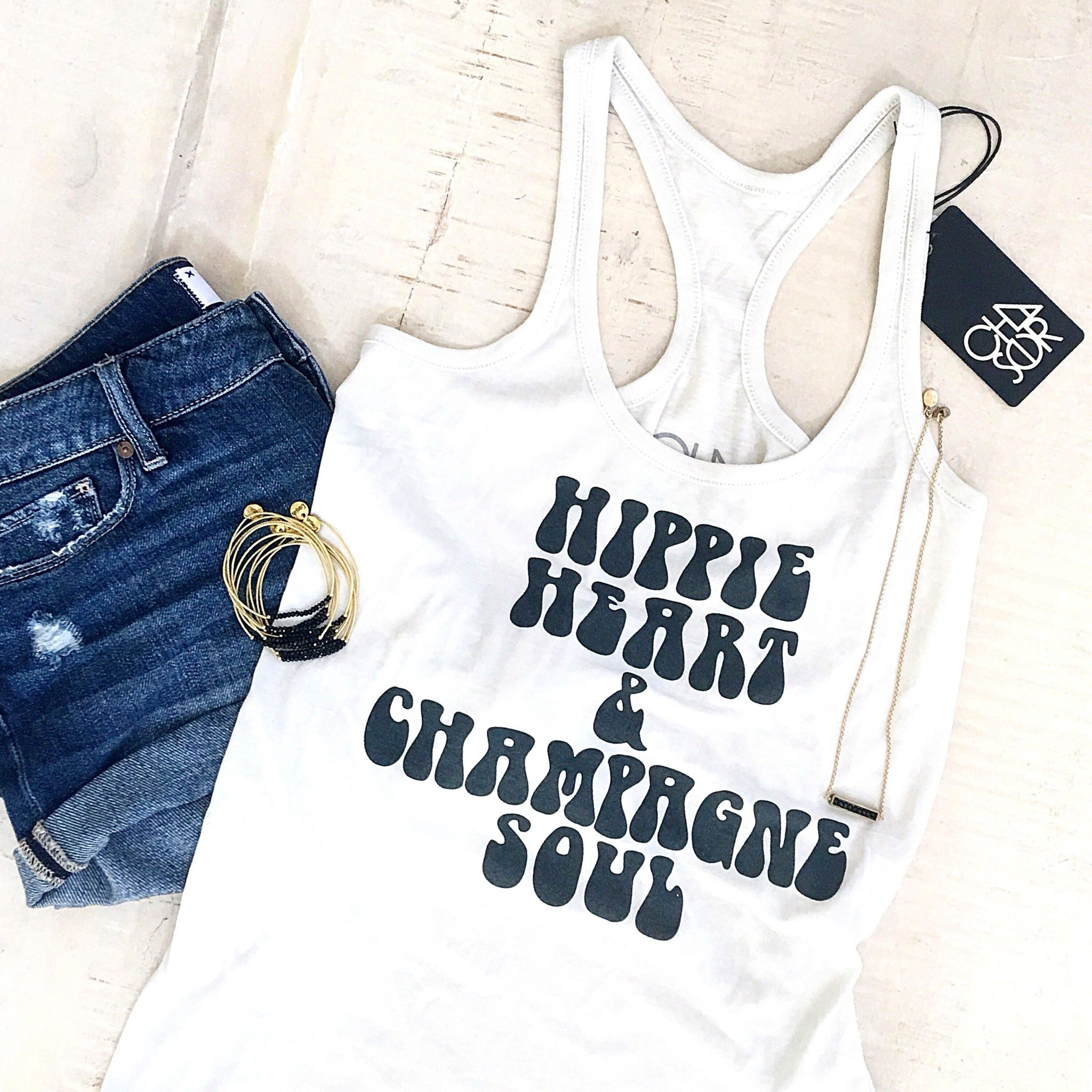(Sold Out) Hippie Heart Racerback T-Shirt Top - Glamco Boutique