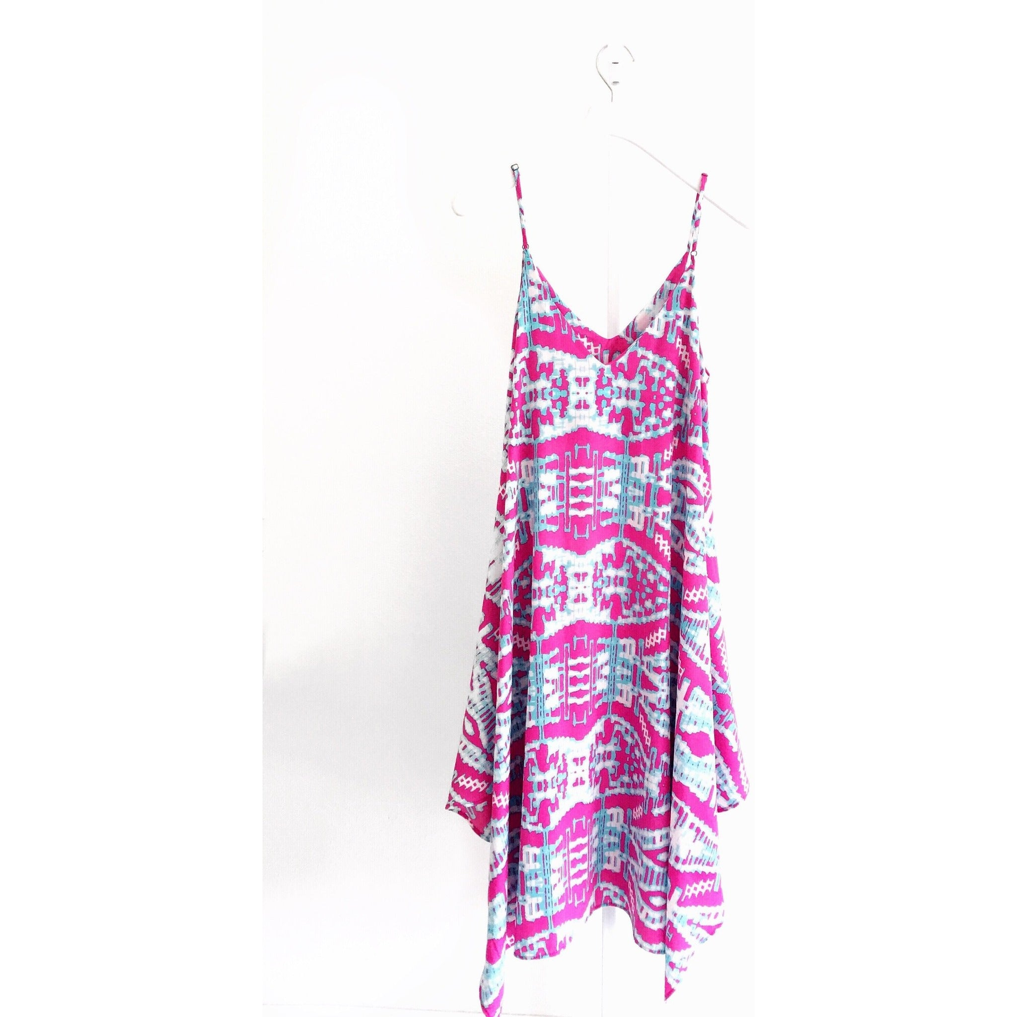 New ! Giselle Midi Dress in Pink Ikat