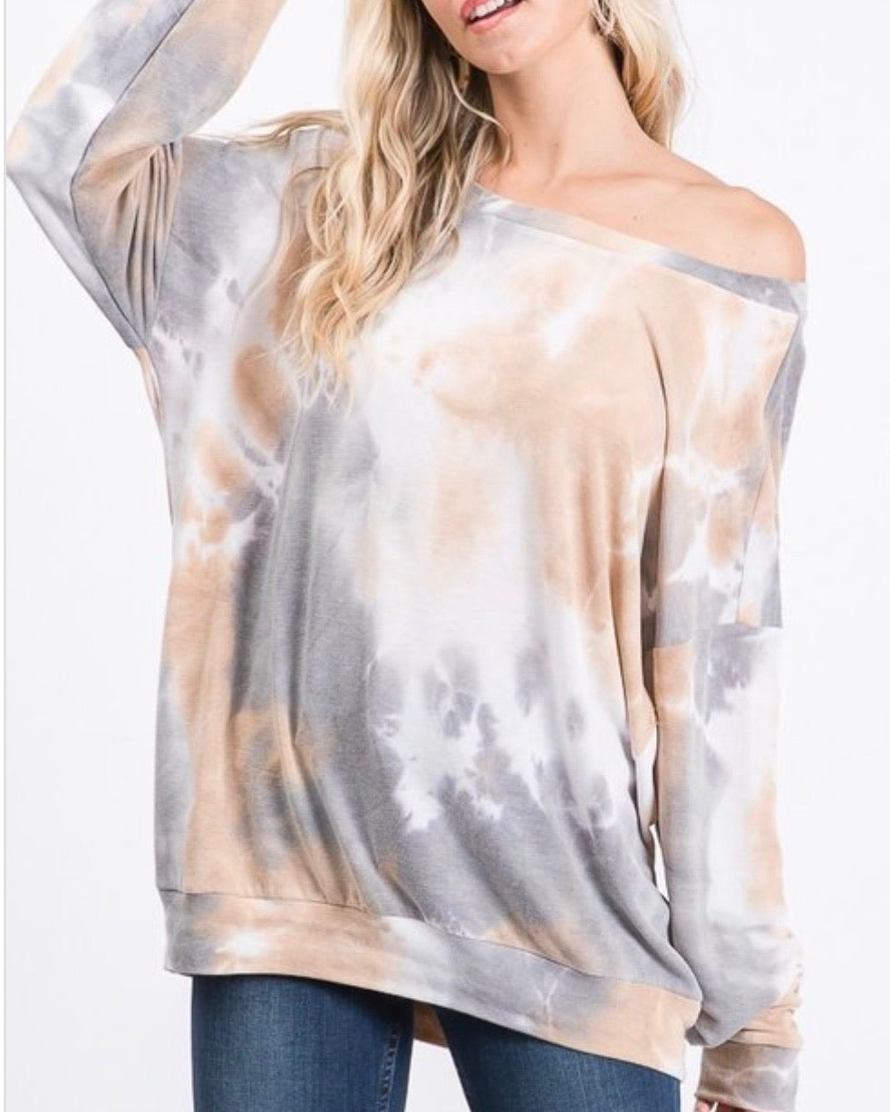 Sold Out ! Sophia Tie Dye Lightweight Sweatshirt / Top - Glamco Boutique