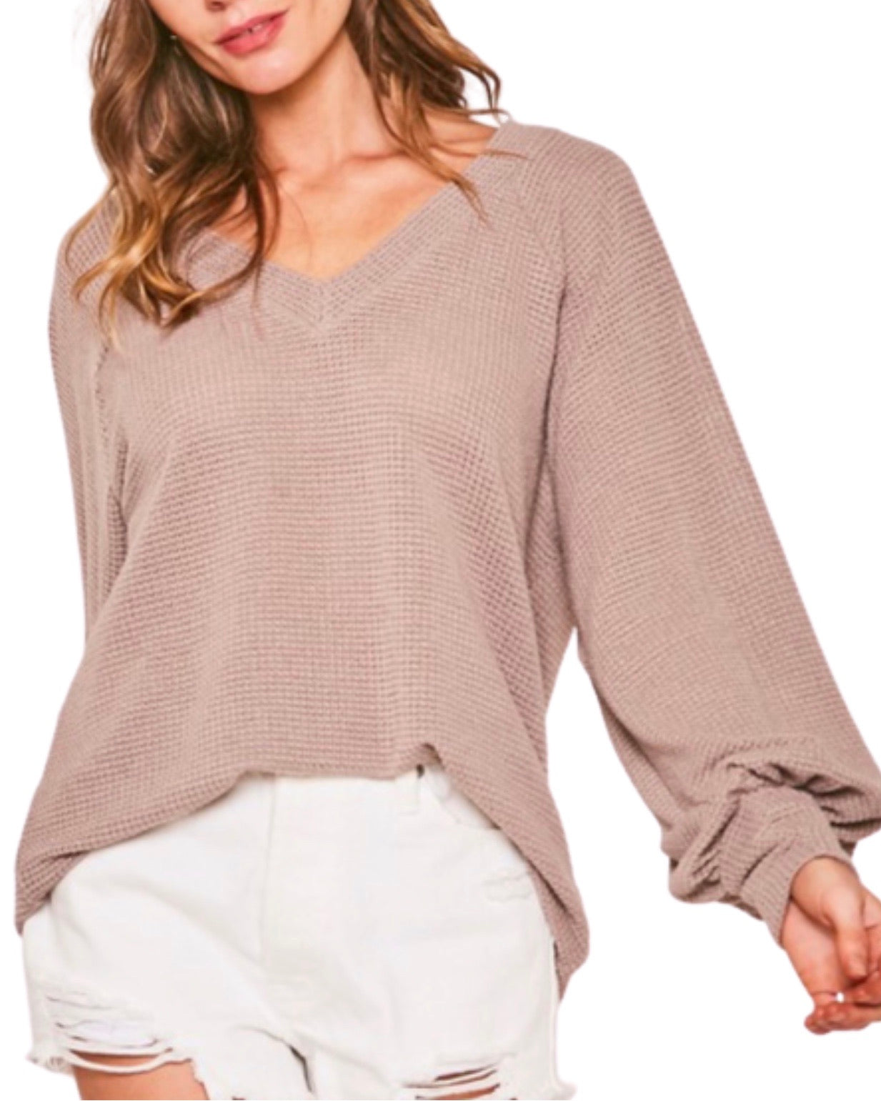 New ! Autumn Textured Knit Long Sleeve Top in Terra Cotta - Glamco Boutique