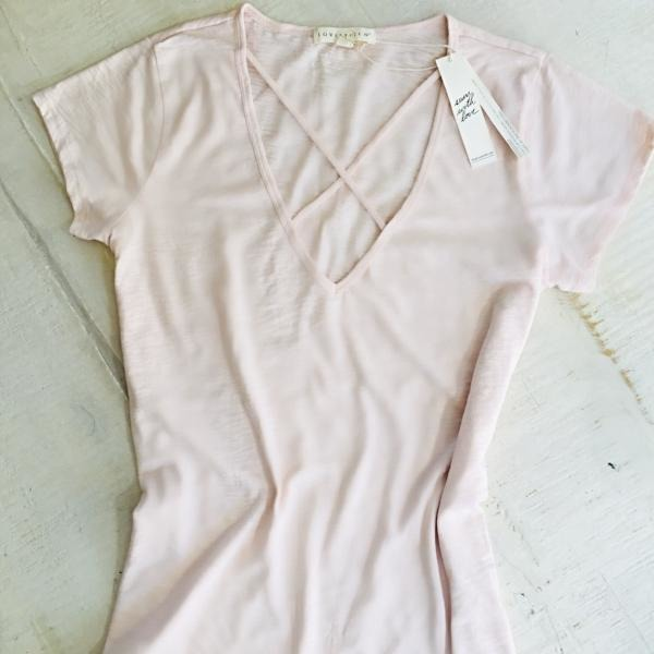 SALE ! Ashley  Detail T-Shirt Top, Blush Pink by Lovestitch - Glamco Boutique