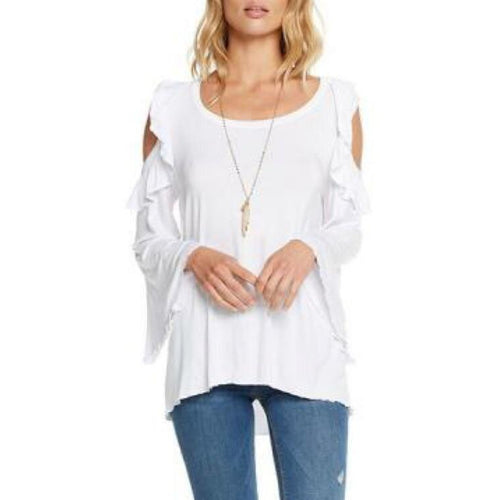 SALE ! Angie  Cold Shoulder Ruffle T Shirt Top by Chaser - Glamco Boutique