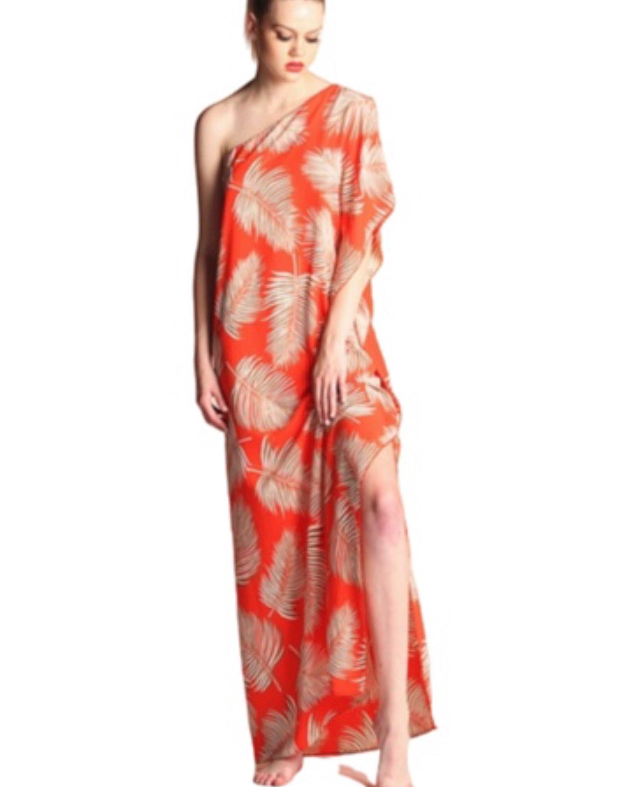 SALE ! Large Leaf Kaftan Maxi Resort Dress - Glamco Boutique