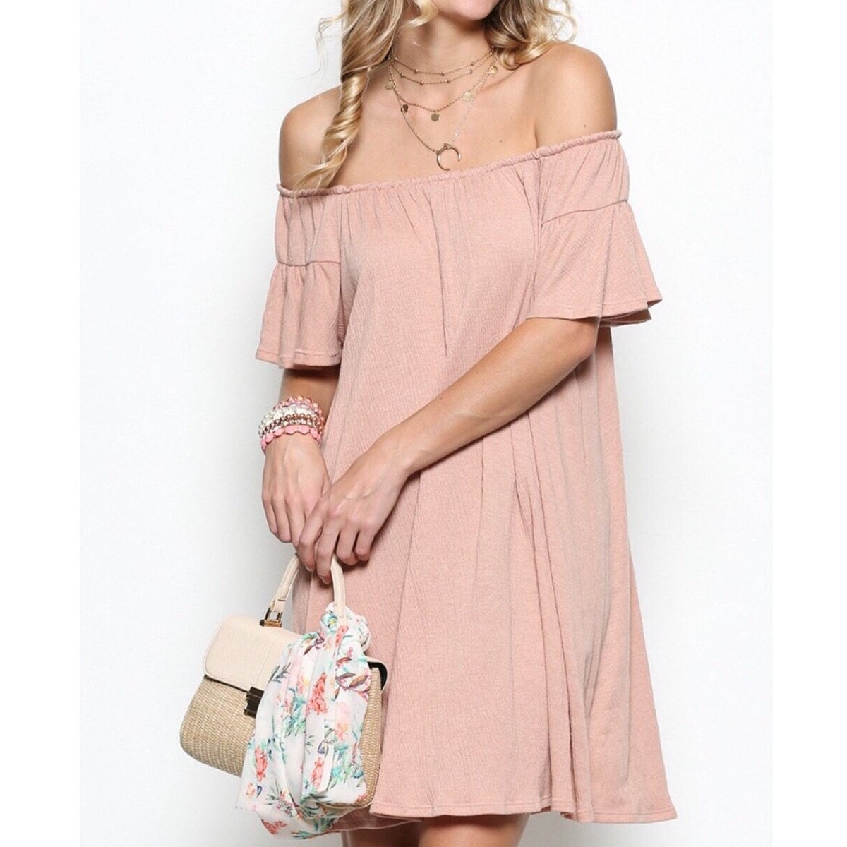 Taylor Off The Shoulder Dress in Pink Sand . Flirty and flouncy its perfect for a spring or summertime dress or coverup