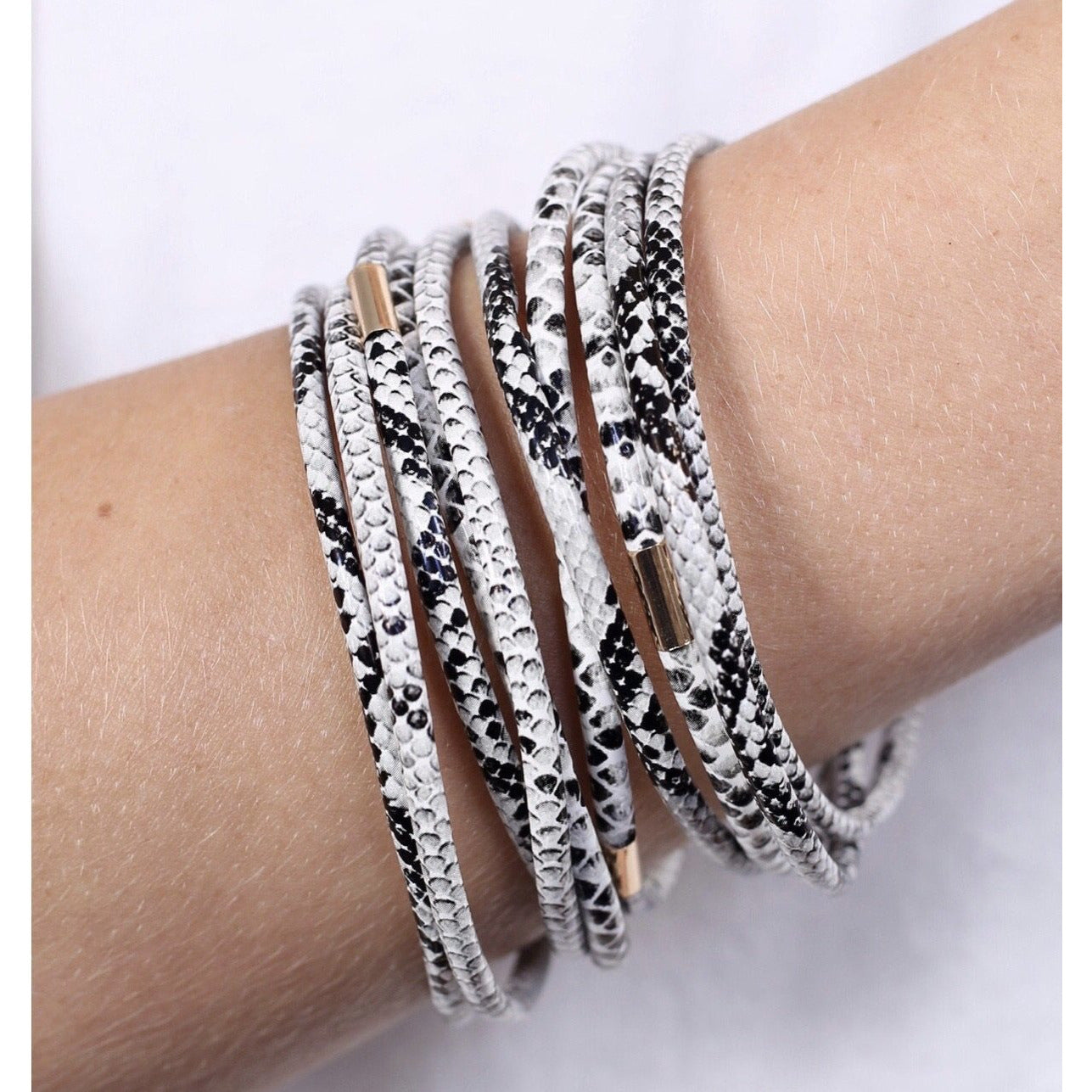 New ! Jillian Snake Print Bracelet Stack of 10 - Glamco Boutique