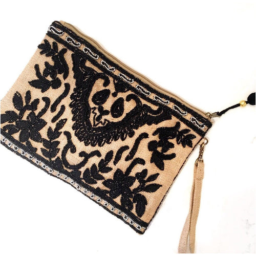 Delaney Jute Clutch, Black/Tan