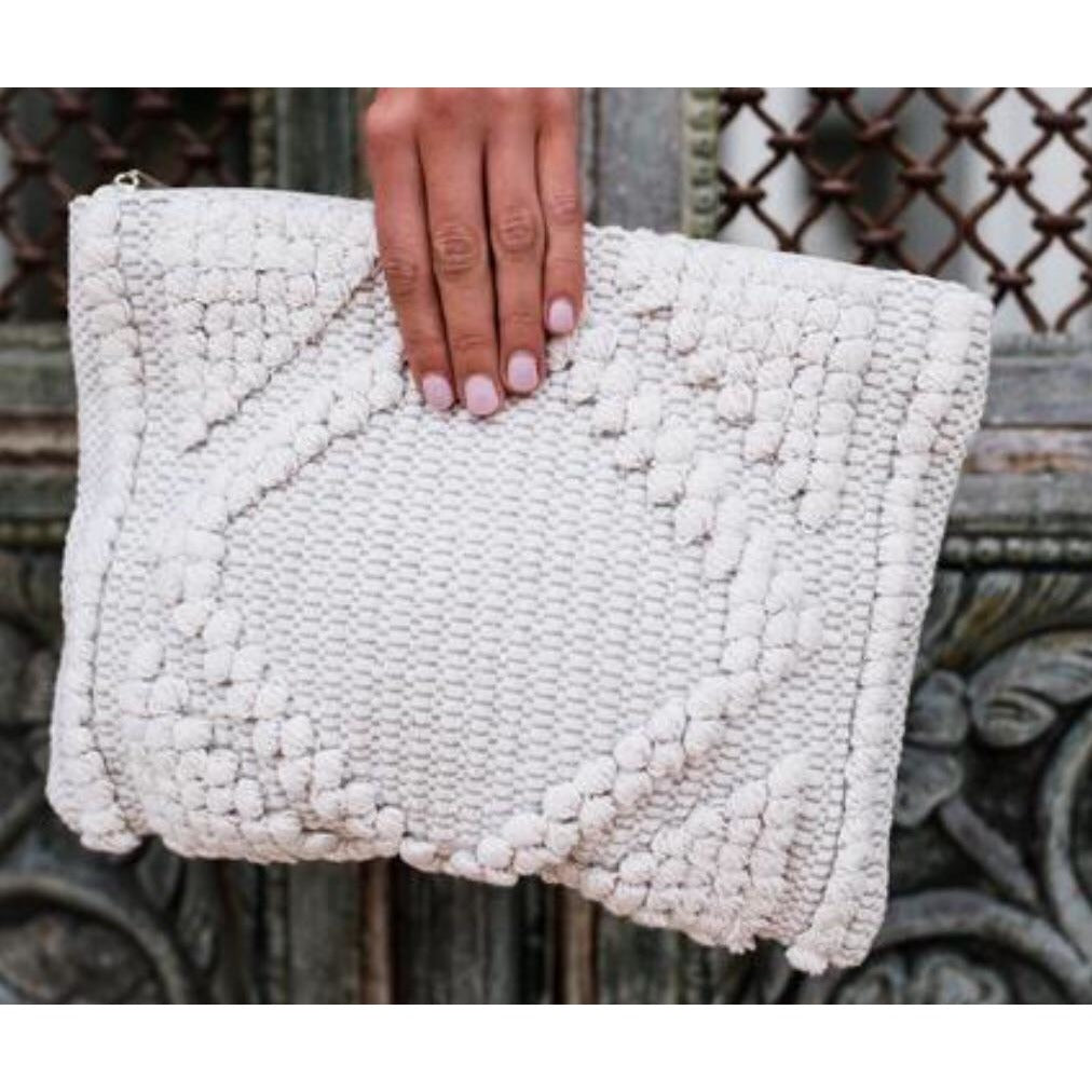 ( Sold Out ) Angelina  Clutch in Salt - Glamco Boutique