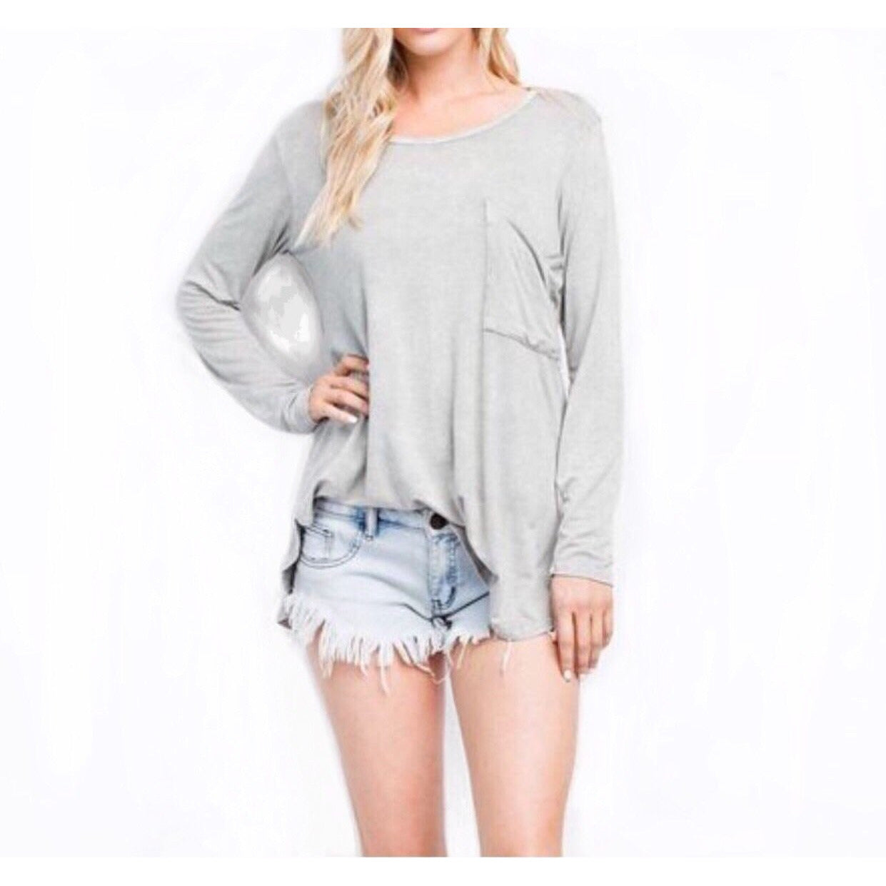 SALE ! Macie Long Sleeve T-Shirt Top - Glamco Boutique