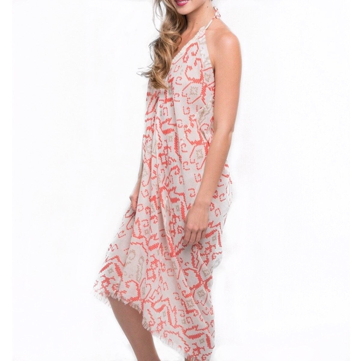 Sale ! Anastasia Ikat Halter Cover Up Dress in Faded Coral - Glamco Boutique