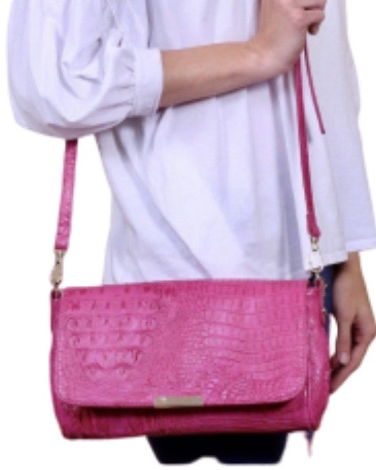New ! Eliza Vegan Crossbody Clutch in Faux Croc - Glamco Boutique