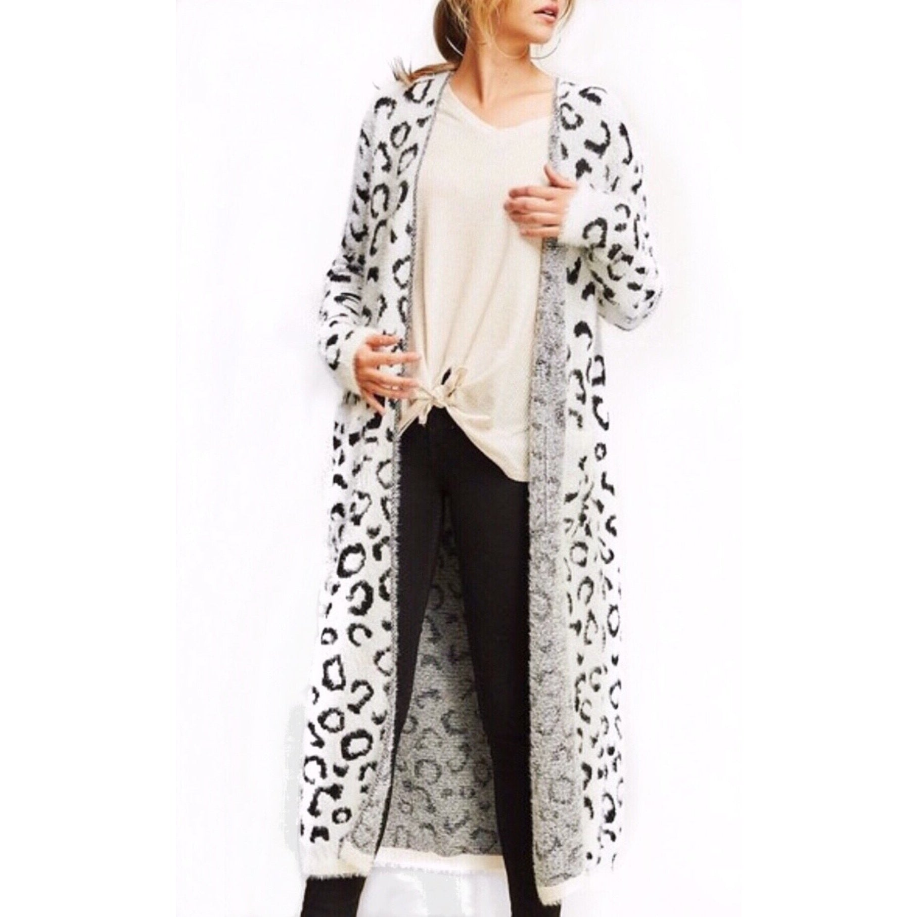 33b4f0401f67 Cassidy Snow Leopard Cardigan Duster – Glamco Boutique