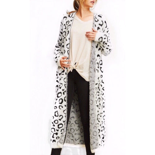 Cassidy Snow Leopard Cardigan Duster