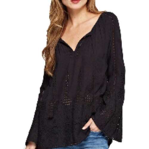 SALE ! Rhiannon  Long Bell Sleeve Eyelet Top by Lovestitch - Glamco Boutique