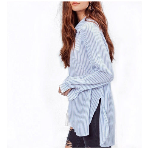 New ! Wes Striped Button Down Top