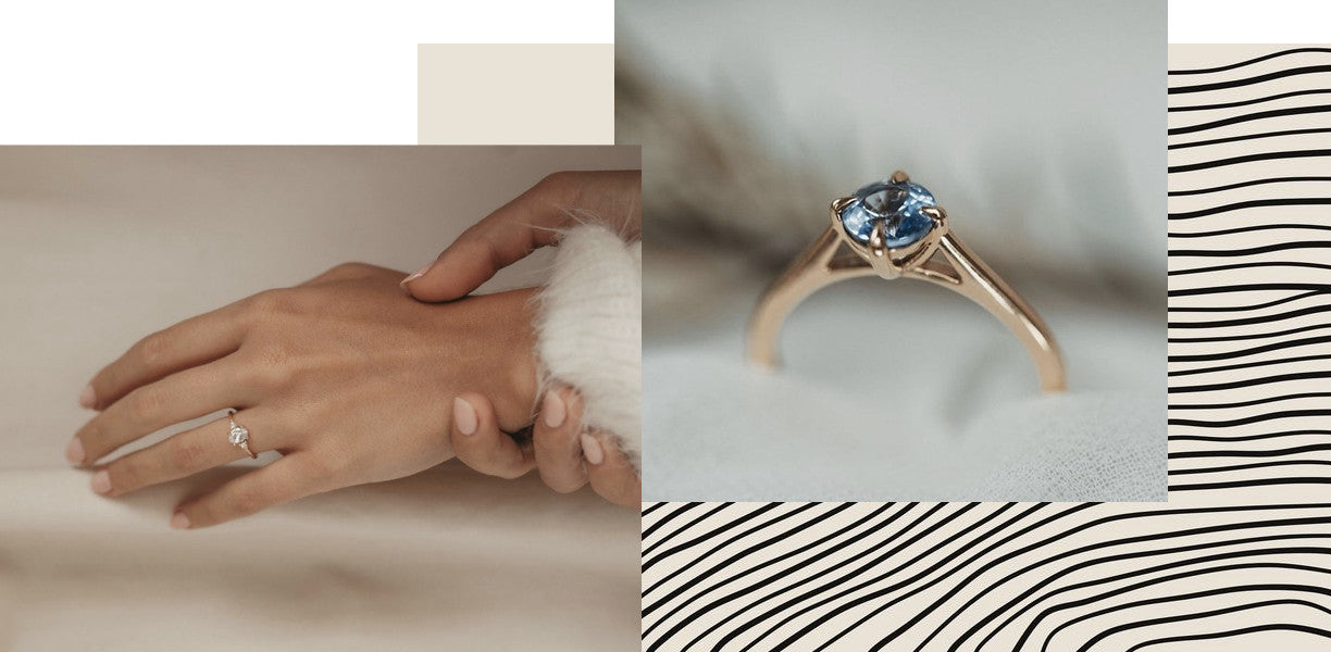 A collaged image of two engagement rings made by Vancouver bridal company Evorden.