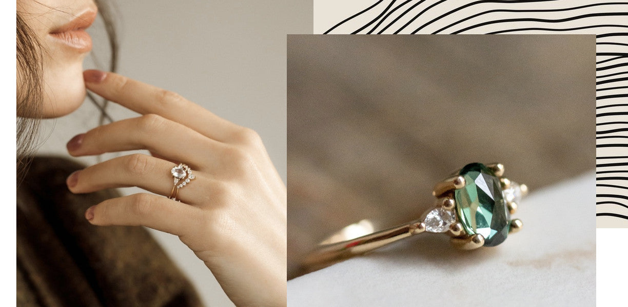 Heirloom Engagement Rings can be purpose built! This photo features a collage of two engagement rings made by Vancouver bridal company Evorden.