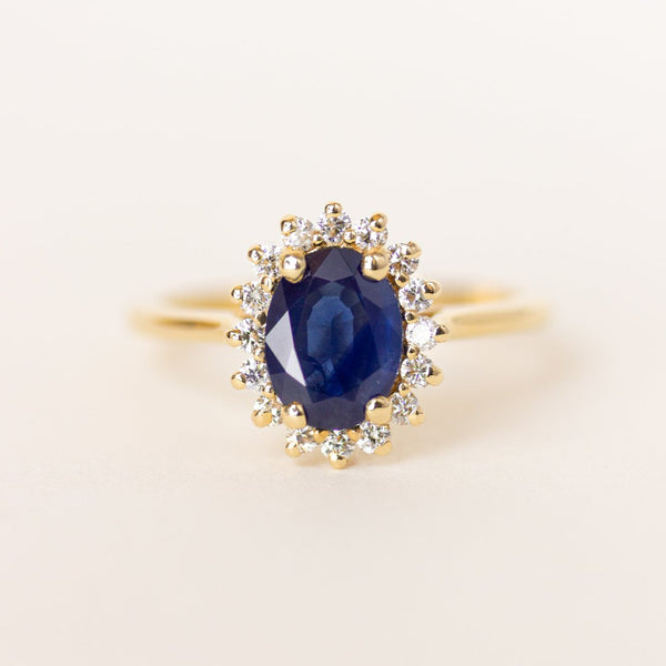 Blue Sapphire Vintage Inspired Engagement Ring