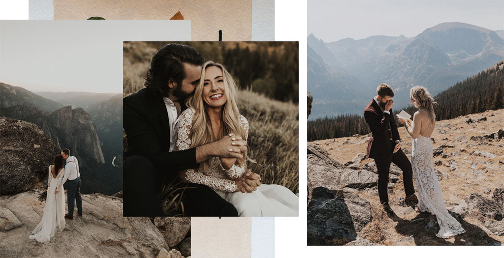 A collage of images by @autumnnicole_ of couples on their wedding days, reading vows.