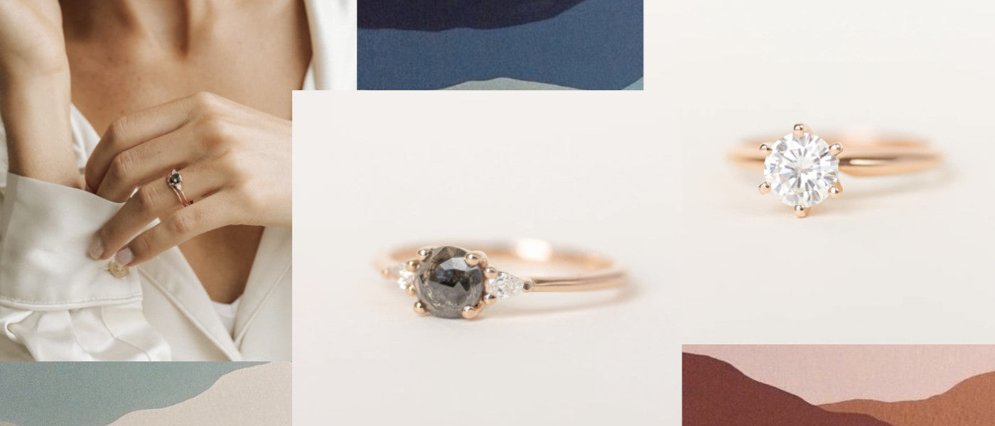 Rose cut engagement rings featuring our Maeve and Kate Rings handmade in our Vancouver Evorden Studio