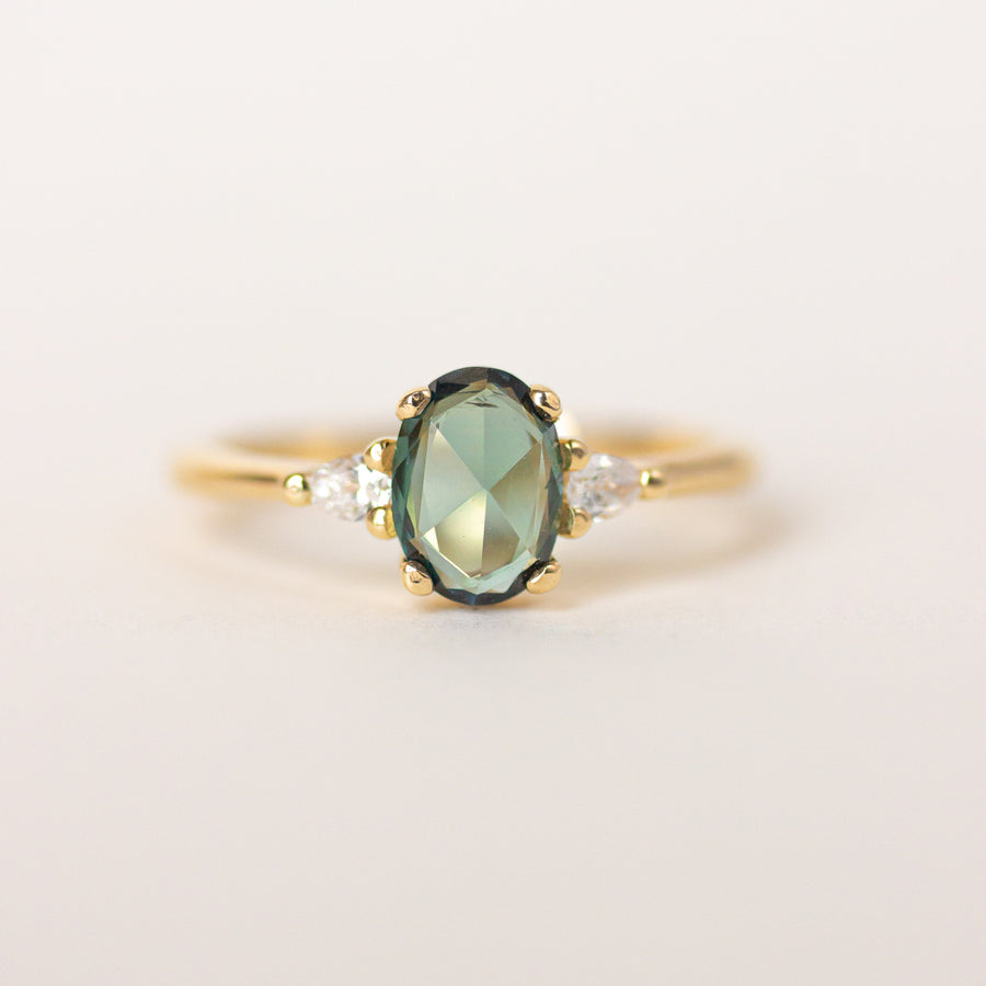 Green Sapphire Engagement Ring with 14k yellow gold band