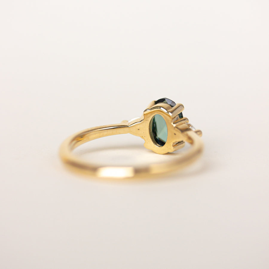 Green Sapphire Engagement Ring with 14k yellow gold
