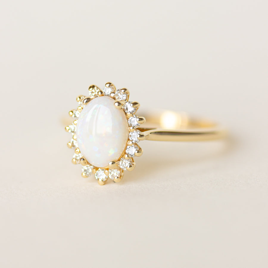 Opal Halo Engagement Ring with 14k Yellow Gold Band