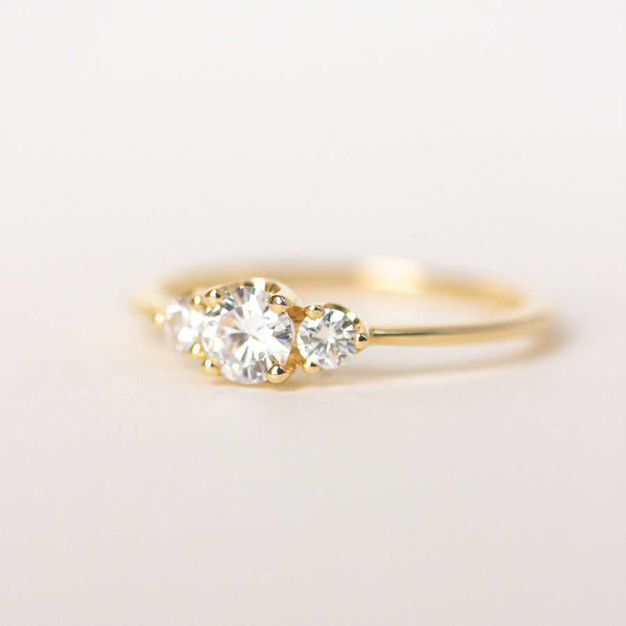 Three-Stone Diamond Engagement Ring in 14K Yellow Gold