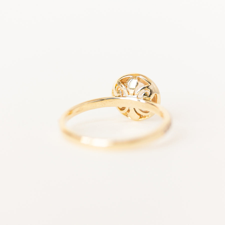 Halo Morganite Engagement Ring in 14K Yellow Gold