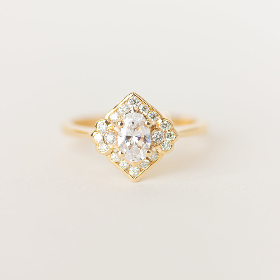 Vintage Inspired Moissanite Engagement Ring, Vancouver BC, Canadian Made