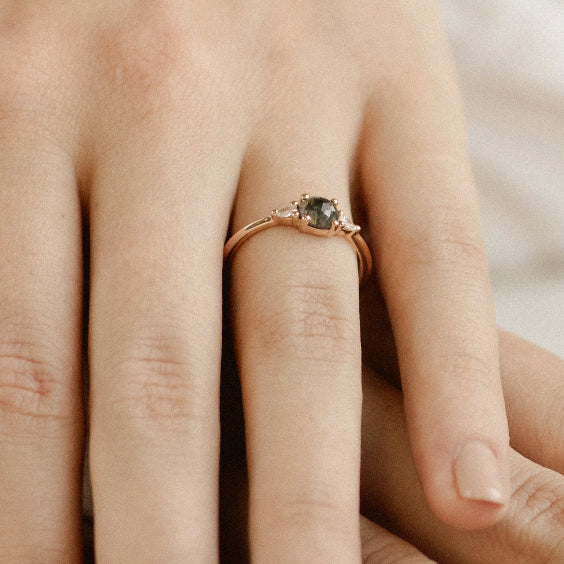 MAEVE RING- Salt and Pepper Black Diamond Engagement Ring- Set in 14k rose gold band- EVORDEN