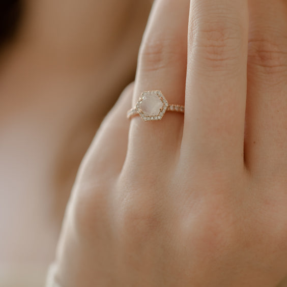 Moonstone Hexagon Engagement Ring - ONDINE RING - Evorden