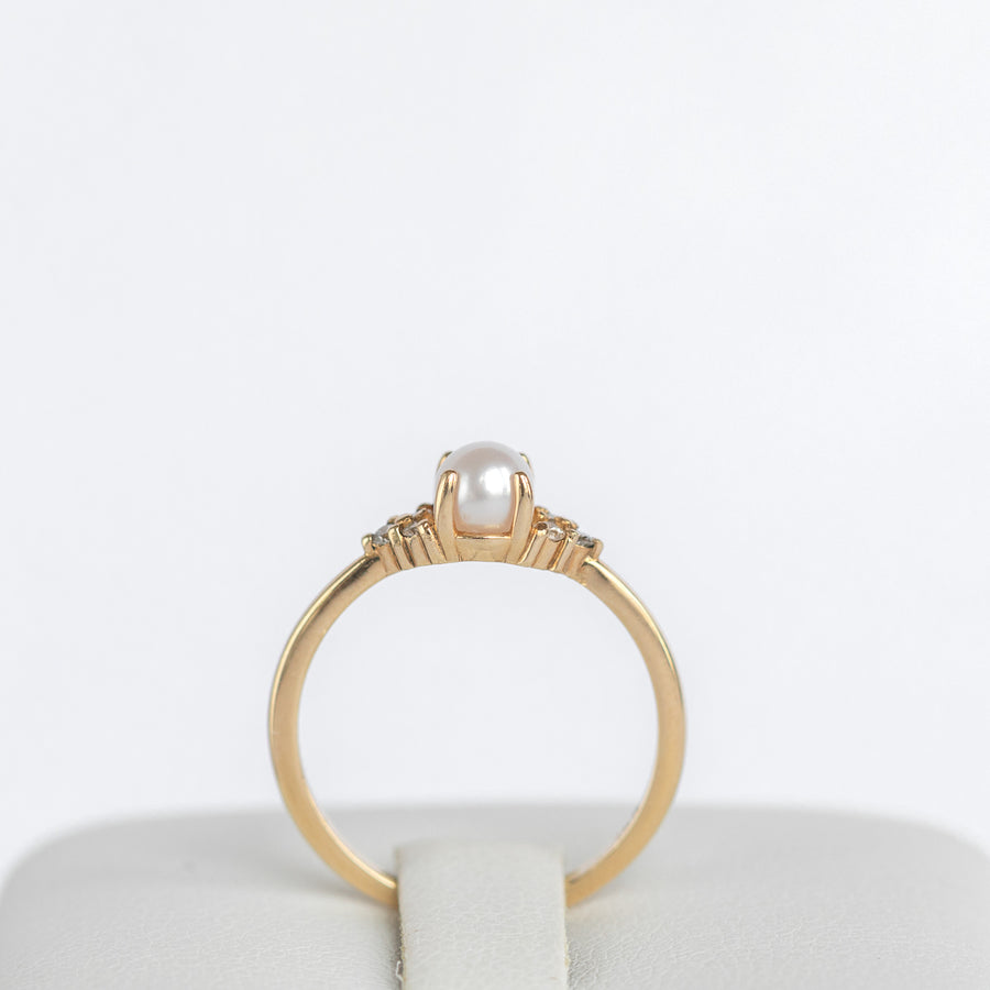 Pearl Engagement Ring in 14K Yellow Gold Band