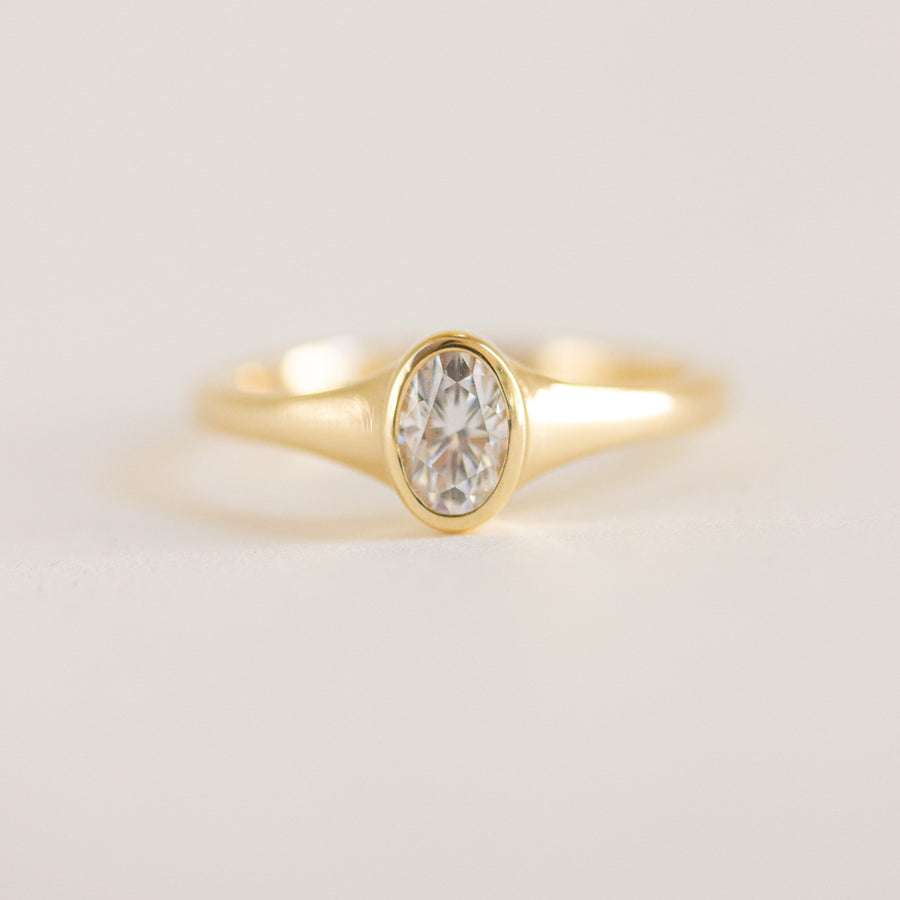 Oval Bezel Signet Diamond Ring