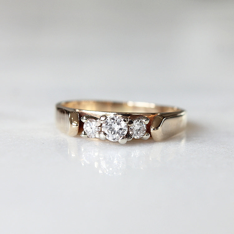 Vintage Gold Three Diamond Engagement - The Hepburn Ring - Evorden
