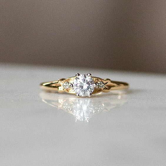 The Davis Ring- Solitaire Diamond Vintage Ring- EVORDEN