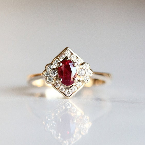 COSETTE RING, Vintage Inspired Ruby Engagement Ring - Evorden