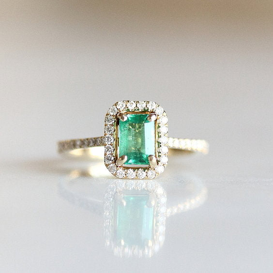ELODIE RING, Emerald Cut Emerald Halo Engagement Ring - Evorden